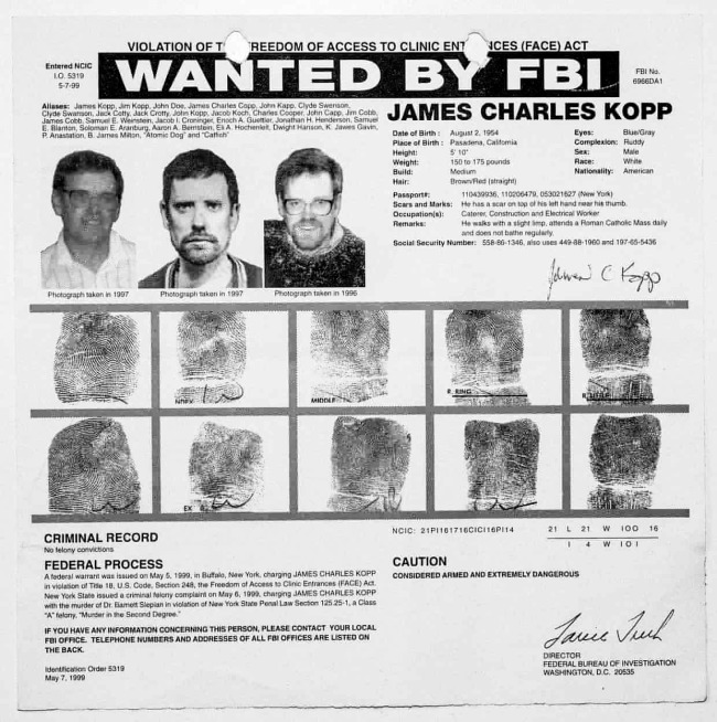 Laia Abril. 'An FBI warrant for James Kopp, a member of The Lambs of Christ, who killed a doctor who worked at an New York abortion clinic in 1998' Nd
