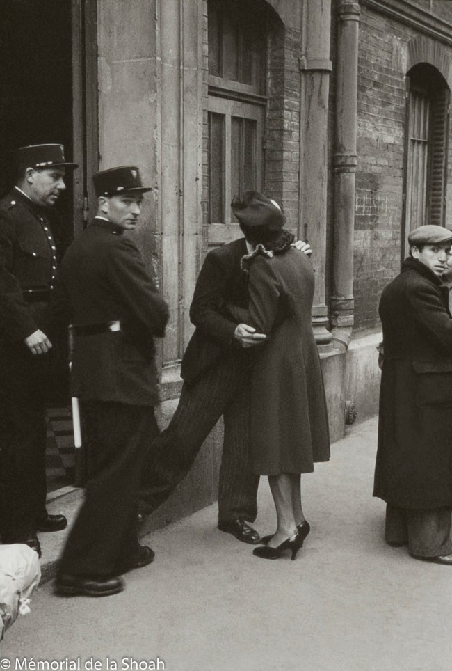 Harry Croner (German, 1903-1992) 'Untitled [Arrested men leave the gymnasium by bus for Austerlitz station]' May 14, 1941