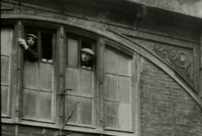 Harry Croner (German, 1903-1992) 'Untitled [Japy Gymnasium: the arrested men peer outside the upper windows of the gymnasium]' May 14, 1941 (detail)