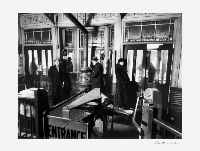 """Berenice Abbott (American, 1898-1991) '""""El"""" Station Interior, Sixth and Ninth Avenue Lines, Downtown Side' 1936"""