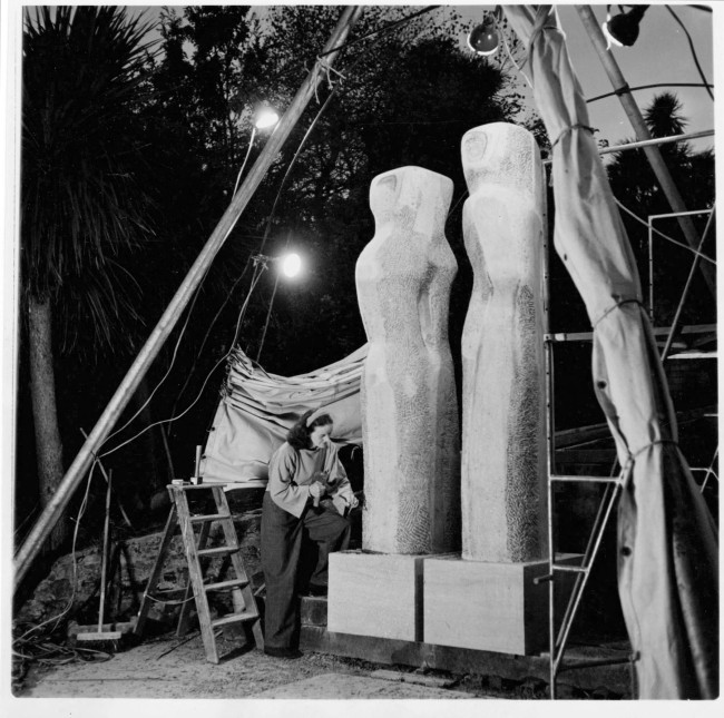 Barbara Hepworth at work on 'Contrapuntal Forms' by floodlight 25 October 1950