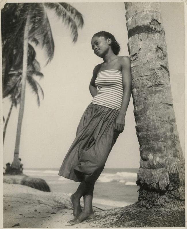 James Barnor (Ghanian, b. 1929) 'Emma Christiana Bruce Annan, Drum Party, Chorkor Beach, Accra' 1954-56