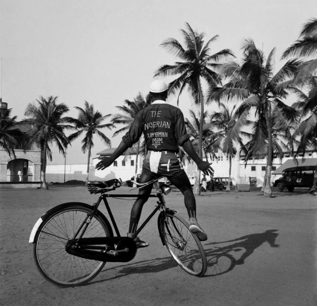 James Barnor (Ghanian, b. 1929) 'Nigerian Superman. Old Polo Ground, Mantse Agbona Park, Accra' 1958