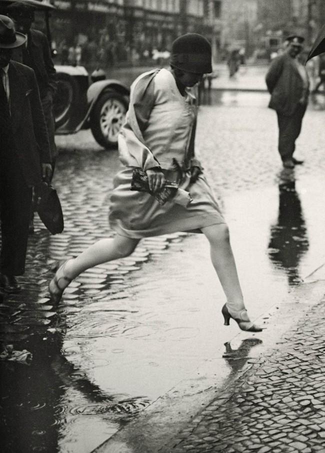 Friedrich Seidenstücker (1882-1966) 'Woman Jumping Puddle, Berlin' 1925