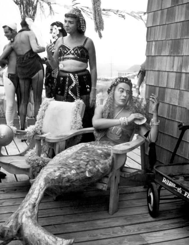 'Ed Burke in Ethel Merman's Mermaid Costume, One Hundred Club Party' 1949