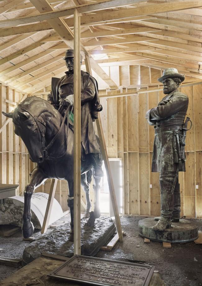 An-My Lê (Vietnamese-American, b. 1960) 'Fragment VI: General Robert E. Lee and P.G.T. Beauregard Monuments, Homeland Security Storage, New Orleans' 2017