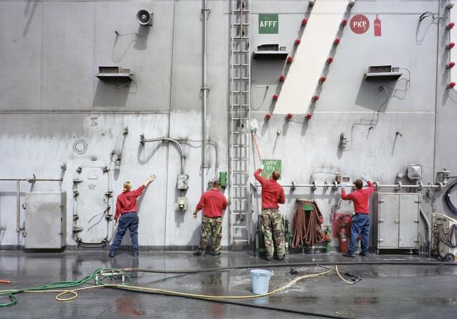 An-My Lê (Vietnamese-American, b. 1960) 'Fresh Water Wash-Down of Super Structure, USS Ronald Reagan, North Arabian Gulf' 2009