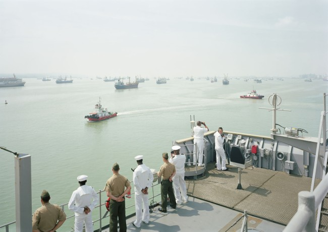 An-My Lê (Vietnamese-American, b. 1960) 'Manning the rail, the U.S.S. Tortuga, Java Sea' 2010