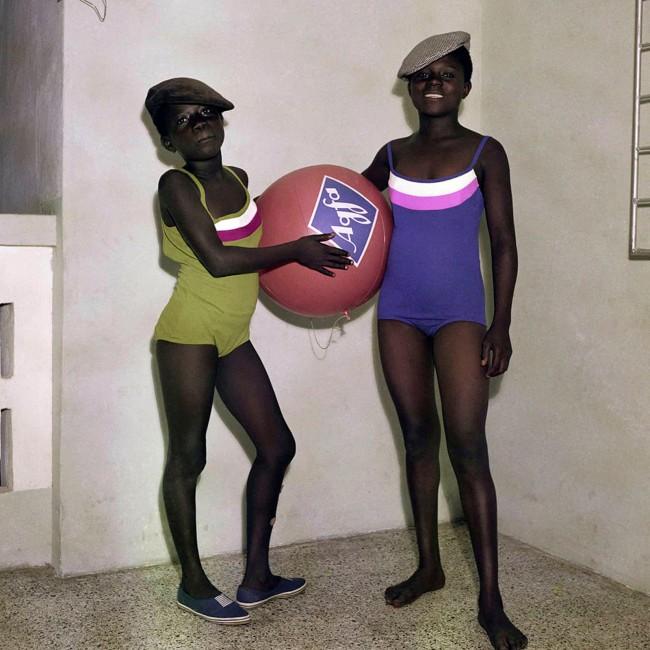 James Barnor (Ghanian, b. 1929) 'Mavis and Mary Barnor with an Agfa advertising ball' 1970