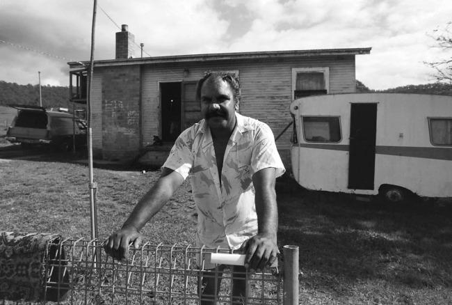 Mervyn Bishop (Australian, b. 1945) 'Untitled (Bellbrook NSW, man leaning on fence)' 4 May 1988