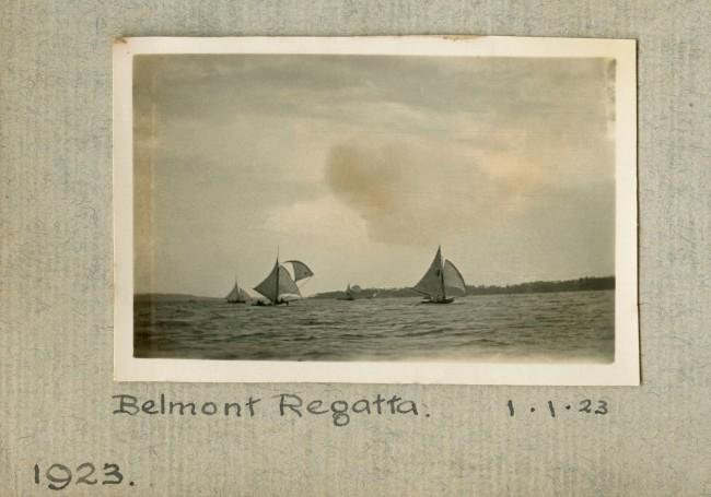"""Belmont Regatta,"" 1.1.23 in John ""Jack"" Riverstone Faviell 1922-1933 photo album"
