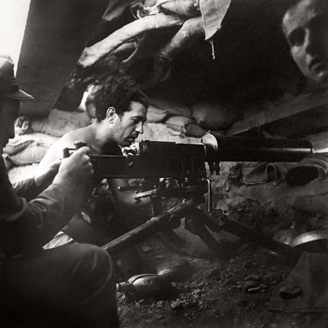 Kati Horna (Mexican born Hungary, 1912-2000) 'Sin titulo (Milicianos en una trinchera/Militiamen in a trench) '1937-38