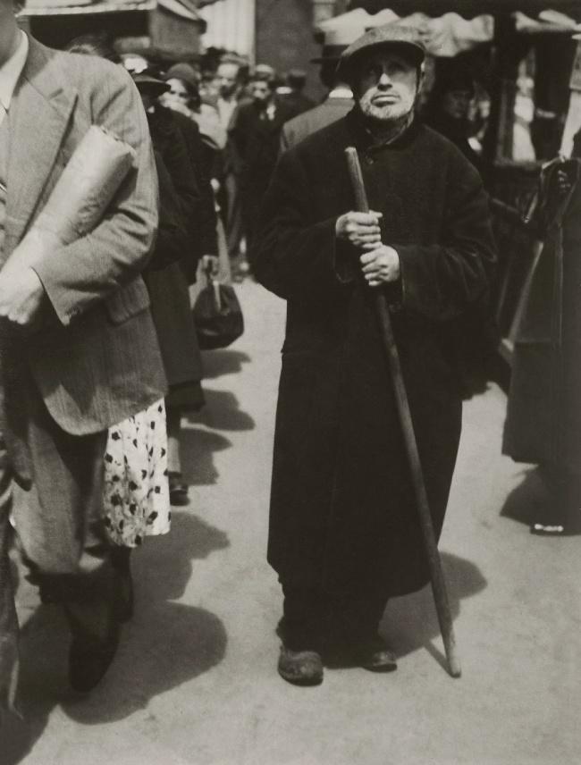 Lisette Model (American born Austria, 1901-1983) 'Blind Man Walking, Paris' 1933-38