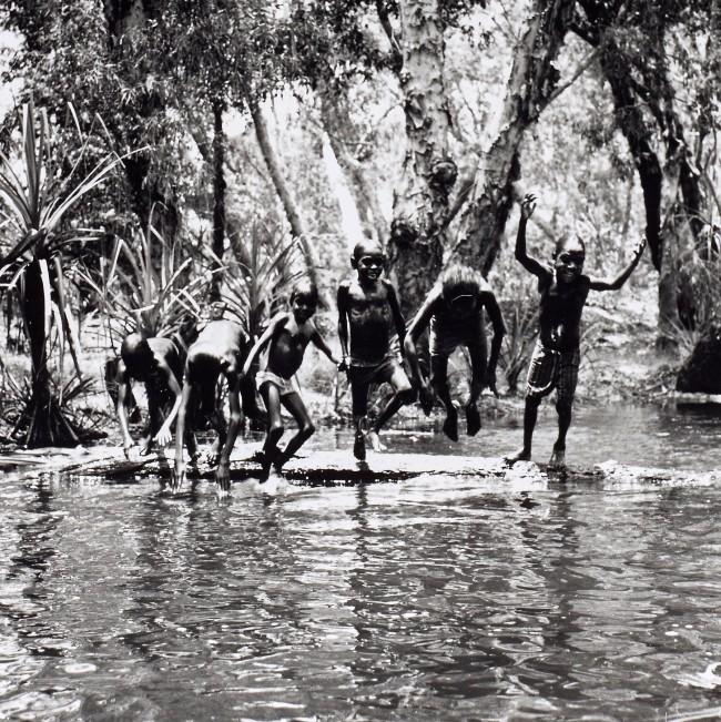 Mervyn Bishop (Australian, b. 1945) 'Children playing in river, Mumeka' 1975 (detail)