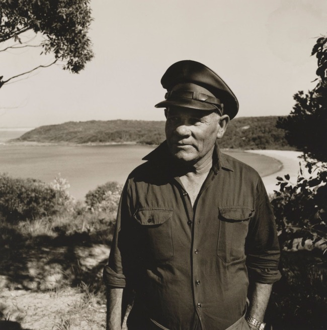 Mervyn Bishop (Australian, b. 1945) 'Fisherman Charlie Ardler, Wreck Bay' 1975, printed 2008