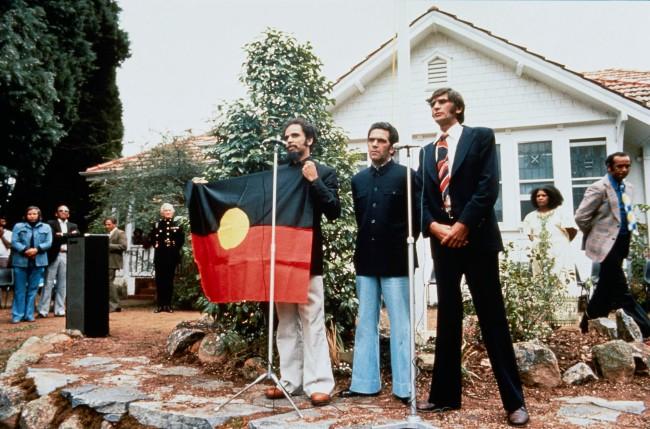 Mervyn Bishop (Australian, b. 1945) 'H Thomas, C Dixon, K Smith ACT' 1976