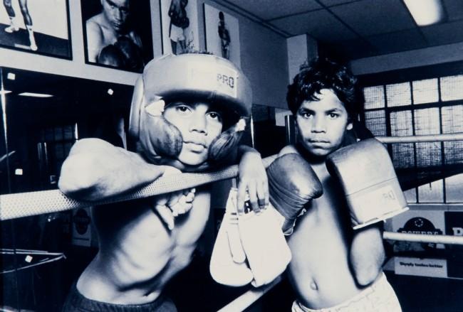 Mervyn Bishop (Australian, b. 1945) 'Untitled. 2 Boys posing, Tony Mundine's gym, Redfern' Nd