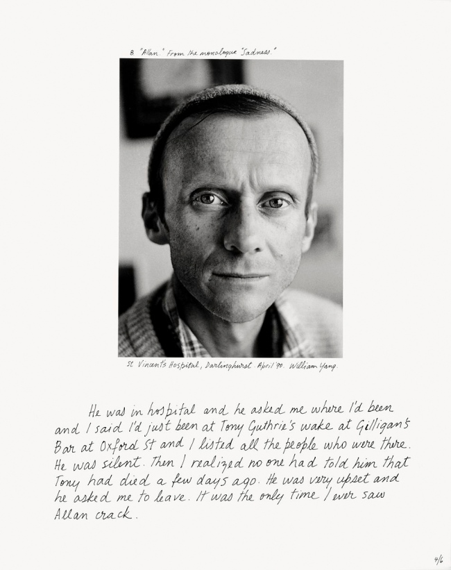 William Yang (Australia b. 1943) ''Allan' from the monologue 'Sadness'' 1992
