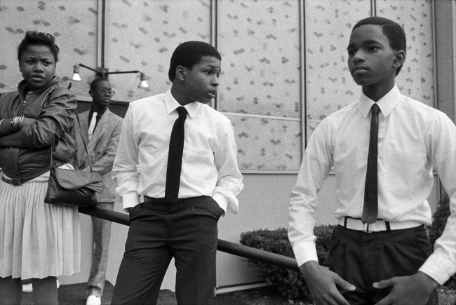 Dawoud Bey (American, b. 1953) 'Four Teenagers after Church Service, Syracuse, NY' 1985, printed 2019