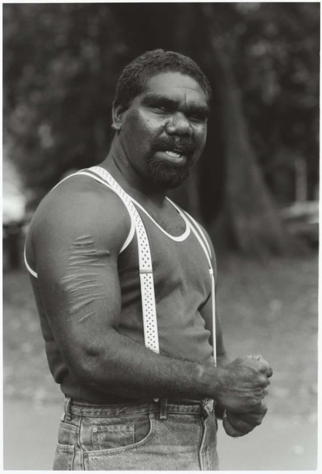 Mervyn Bishop (Australian, b. 1945) 'Aboriginal Australian Gerard Rice at the Rally, Sydney' 1989, reproduction 2014