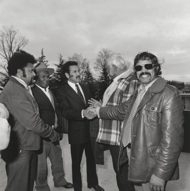 Mervyn Bishop (Australian, b. 1945) 'Charles Perkins shaking hands with members of the National Aboriginal Congress, Canberra' 1978, reproduction 2014