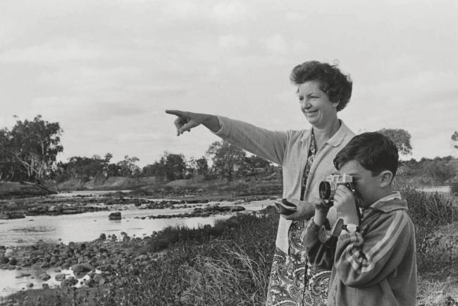 Mervyn Bishop (Australian, b. 1945) 'Lil and Larry Cargill at the rocks, Brewarrina, New South Wales' 1967, reproduction 2014