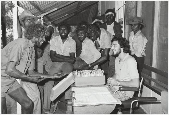 Mervyn Bishop (Australian, b. 1945) 'Pay day, Hooker Creek, Northern Territory' 1974, reproduction 2014