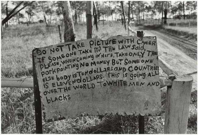 Mervyn Bishop (Australian, b. 1945) 'Warning sign 30 kilometres from Maningrida, Arnhem Land, Northern Territory' 1974, reproduction 2014