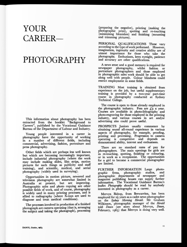 """Aboriginal Protection Board (1952-1969) (publisher) """"Your Career – Photography,"""" 'Dawn' magazine, October 1965"""
