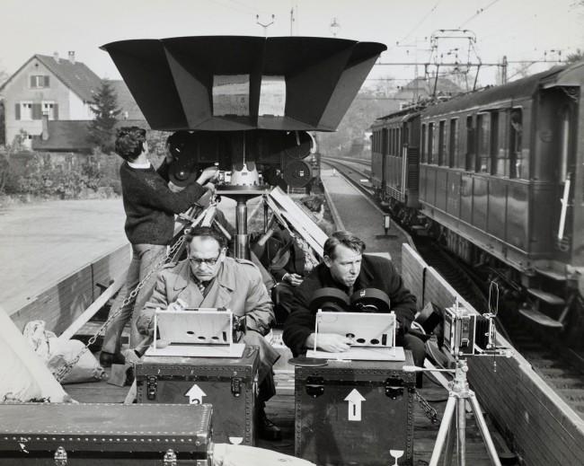 """Karl Wolf. 'Shooting of the Circarama film """"Rund um Rad und Schiene""""' 1963"""