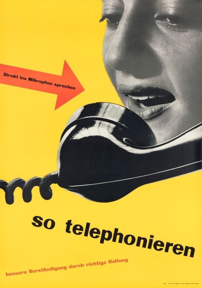 """Ernst A. Heiniger (Swiss, 1909-1993) 'Poster """"so telephonieren""""' 1950"""