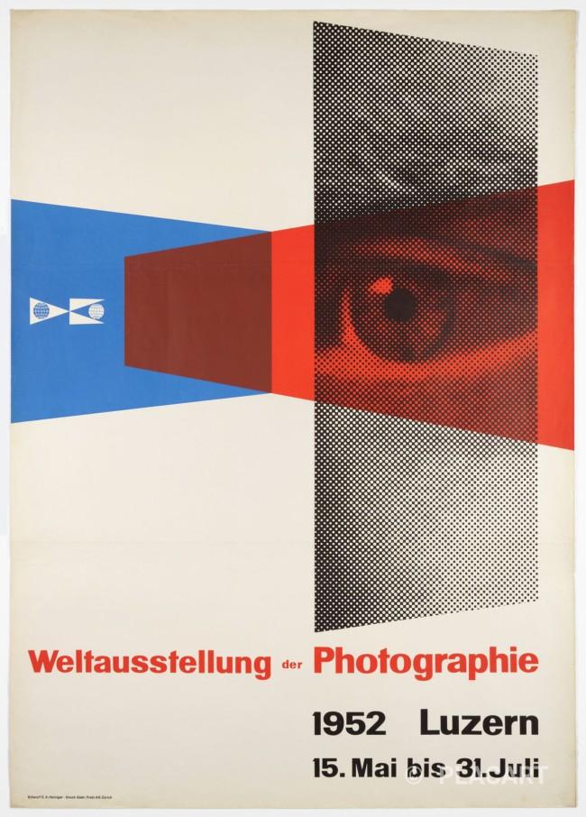 Ernst A. Heiniger (Swiss, 1909-1993) 'World Exhibition of Photography Lucerne poster' 1952
