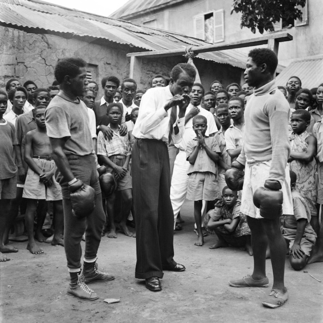 James Barnor (Ghanian, b. 1929) 'Roy Ankrah and an unknown boxer in a remote area of Ghana' 1952