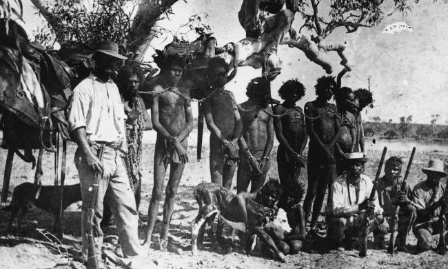 Indigenous Australians in neck chains